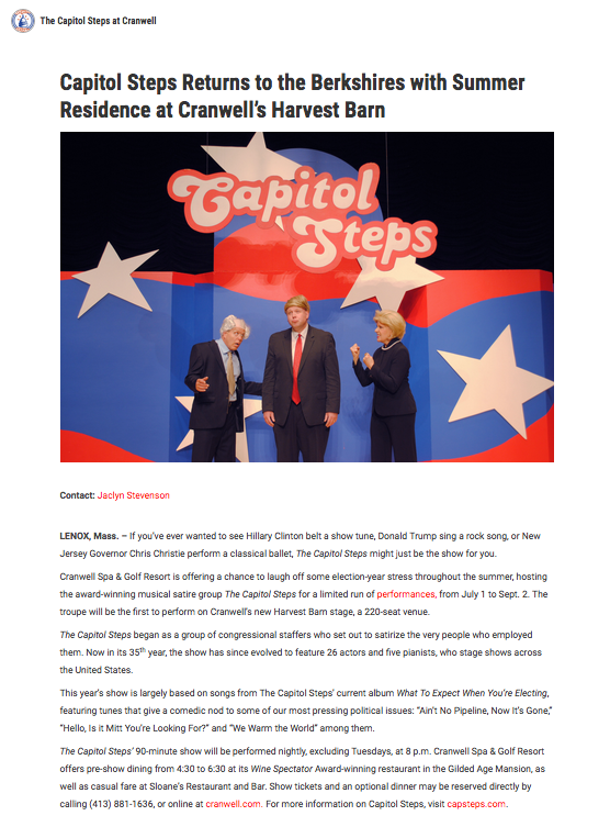 Capitol Steps Press Release