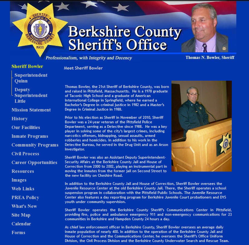 Berkshire County Sheriff's Website - Old