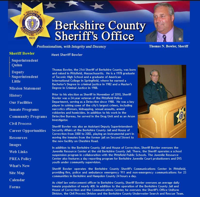 Berkshire County Sheriff's Website - Old